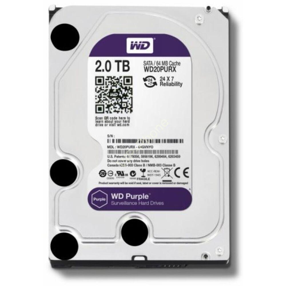 """HDD 3,5"""" 2TB WD SATA3 64MB 5.4 WD20PURZ PURPLE 3ÉV"""