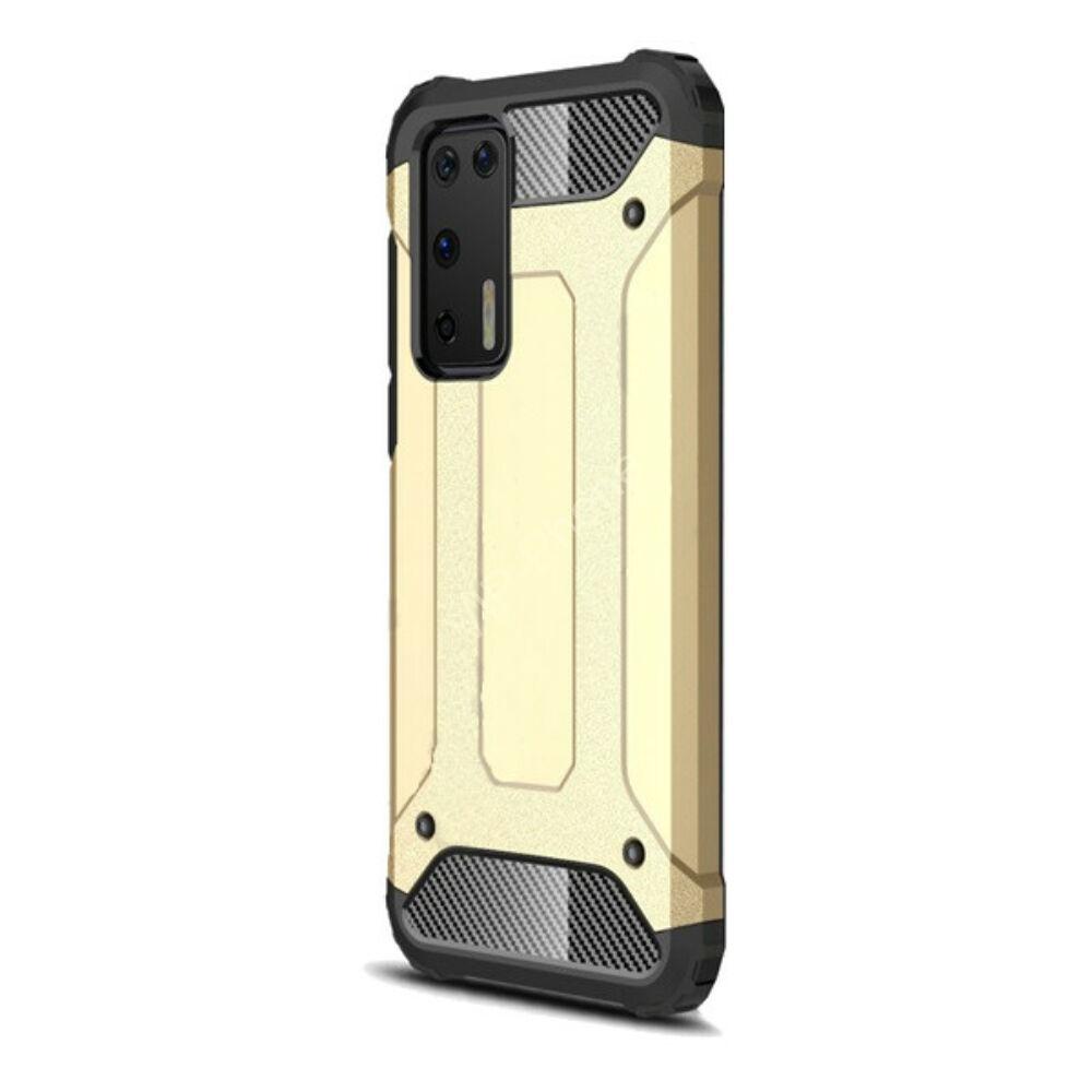 Huawei P40 Defender műanyag telefonvédő (közepesen ütésálló, légpárnás sarok, szilikon belső, fémhatás) ARANY