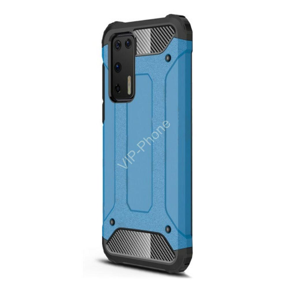 Huawei P40 Defender műanyag telefonvédő (közepesen ütésálló, légpárnás sarok, szilikon belső, fémhatás) VILÁGOSKÉK