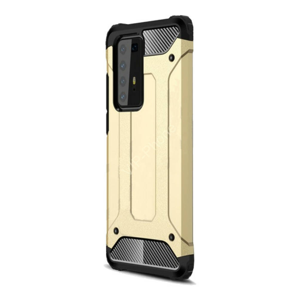 Huawei P40 Pro 5G Defender műanyag telefonvédő (közepesen ütésálló, légpárnás sarok, szilikon belső, fémhatás) ARANY
