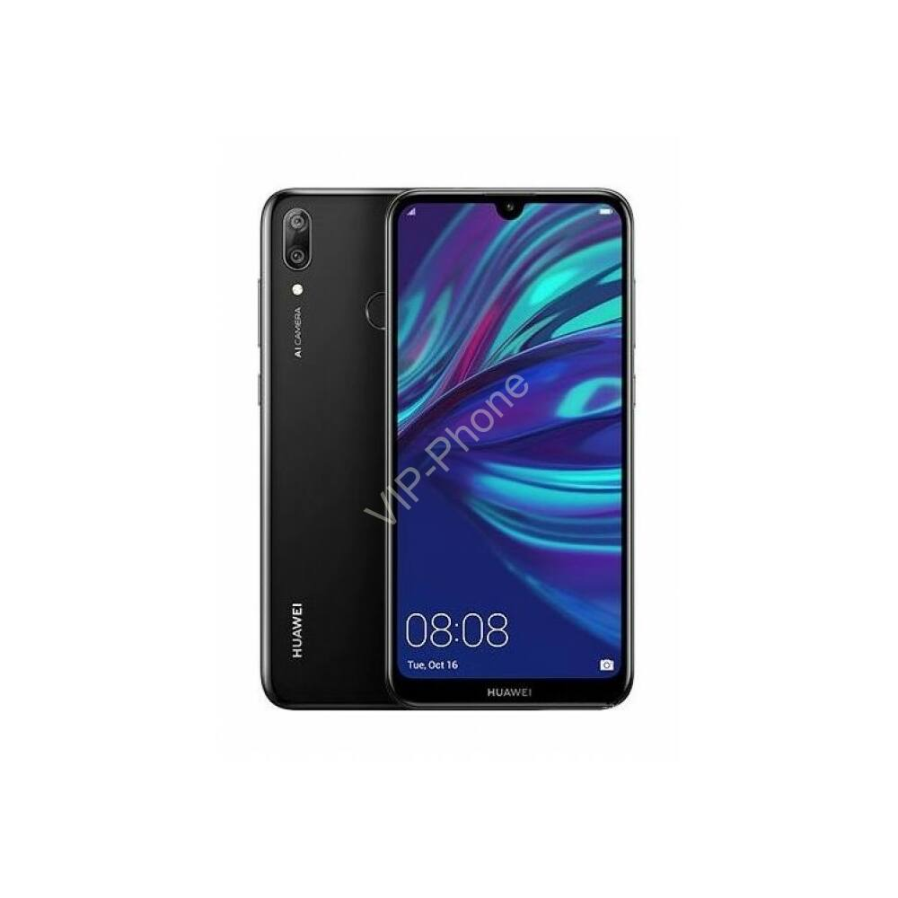 Huawei Y7 2019 Dual-SIM fekete gyártói garanciás kártyafüggetlen mobiltelefon