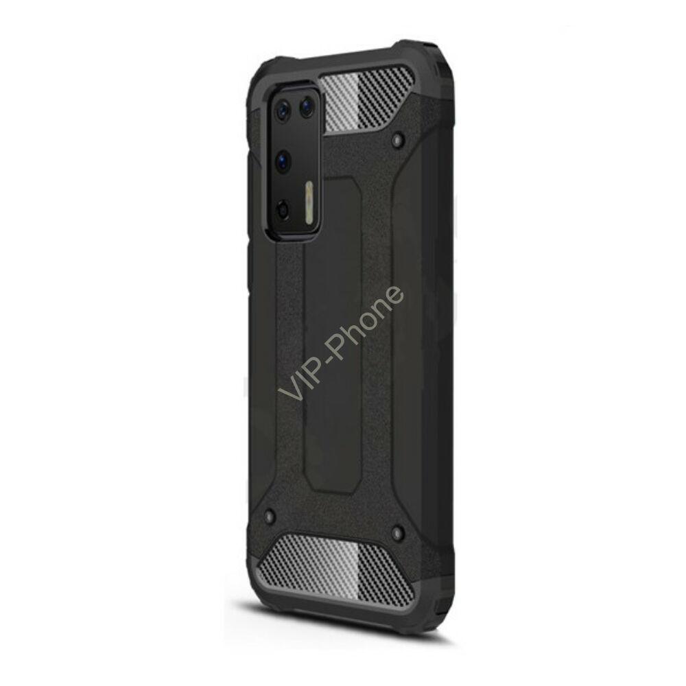 Huawei P40 Defender műanyag telefonvédő (közepesen ütésálló, légpárnás sarok, szilikon belső, fémhatás) FEKETE
