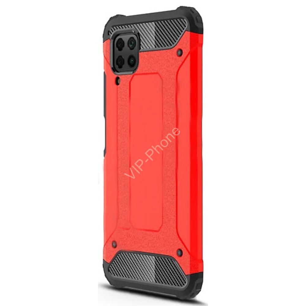 Huawei P40 Lite Defender műanyag telefonvédő (közepesen ütésálló, légpárnás sarok, szilikon belső, fémhatás) PIROS