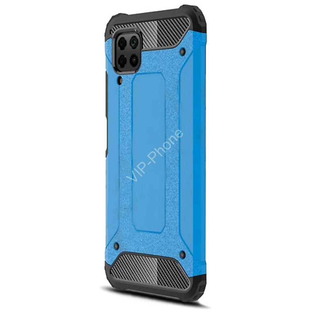 Huawei P40 Lite Defender műanyag telefonvédő (közepesen ütésálló, légpárnás sarok, szilikon belső, fémhatás) VILÁGOSKÉK