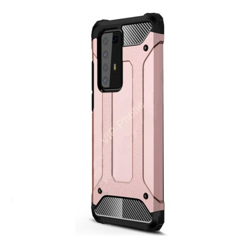 Huawei P40 Pro 5G Defender műanyag telefonvédő (közepesen ütésálló, légpárnás sarok, szilikon belső, fémhatás) ROZÉARANY