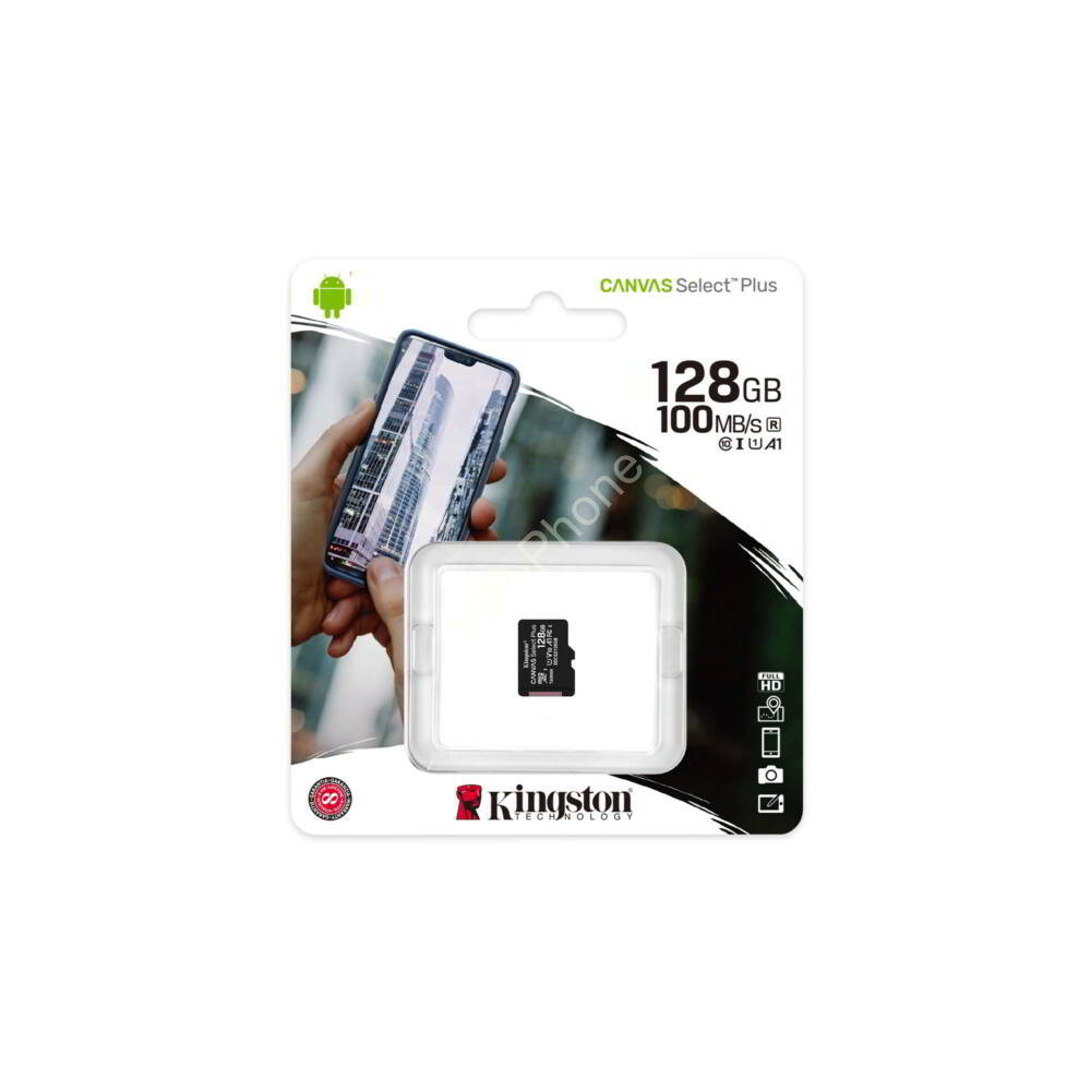 Kingston Canvas Select Plus 128 GB microSDHC™ UHS-1 100MB/s memóriakártya
