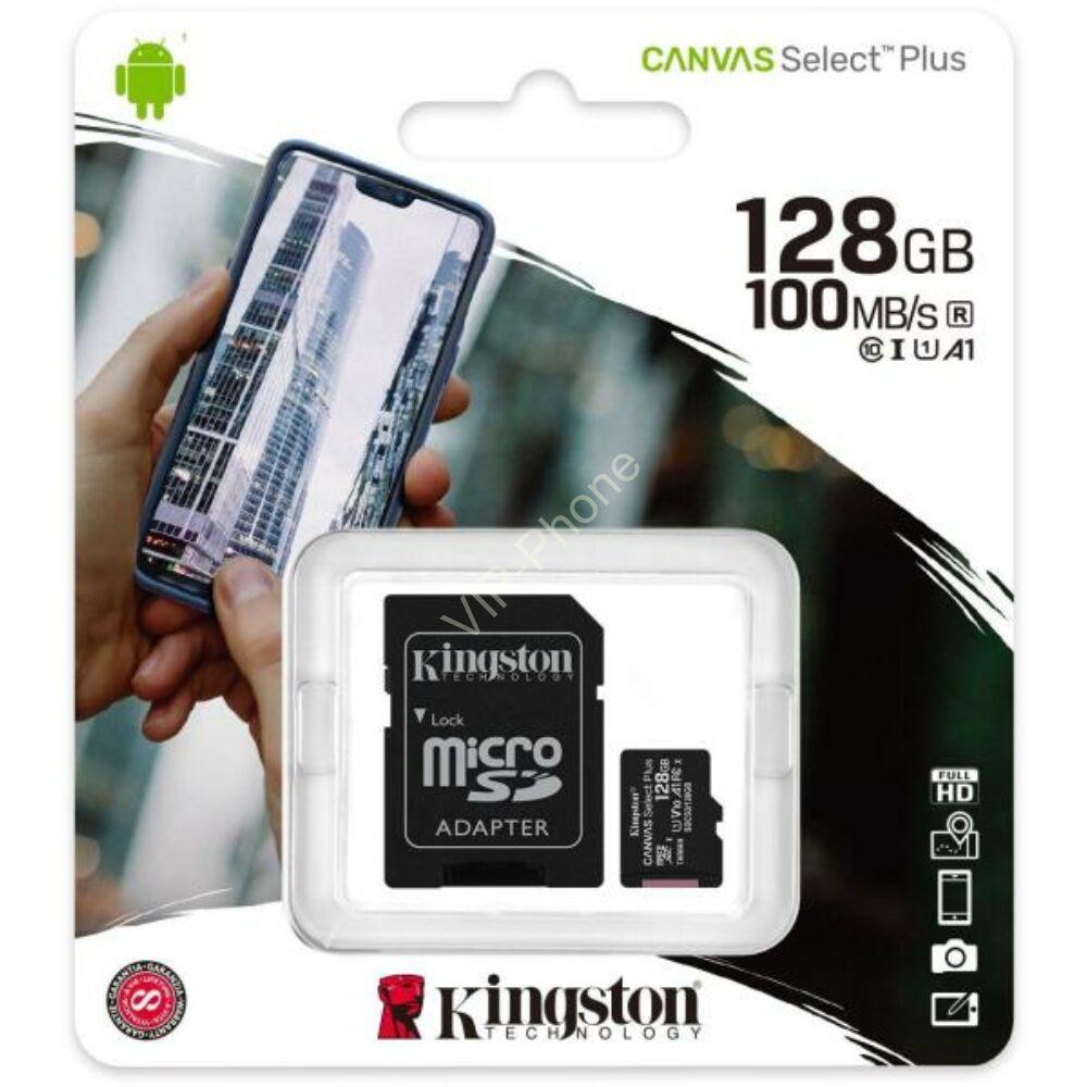 Kingston Canvas Select Plus 128 GB microSDHC™ UHS-1 100MB/s memóriakártya + adapter