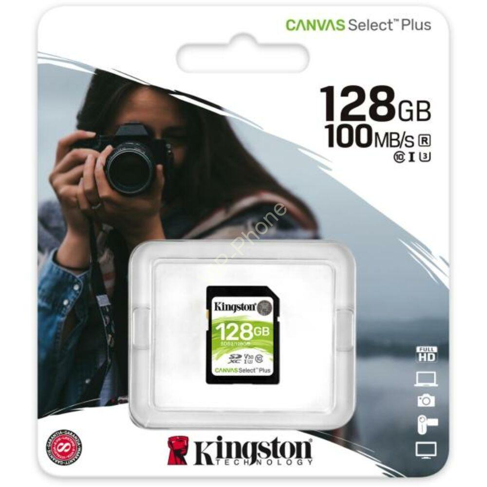 Kingston Canvas Select Plus 128GB 100MB/s SDXC CL10 memóriakártya