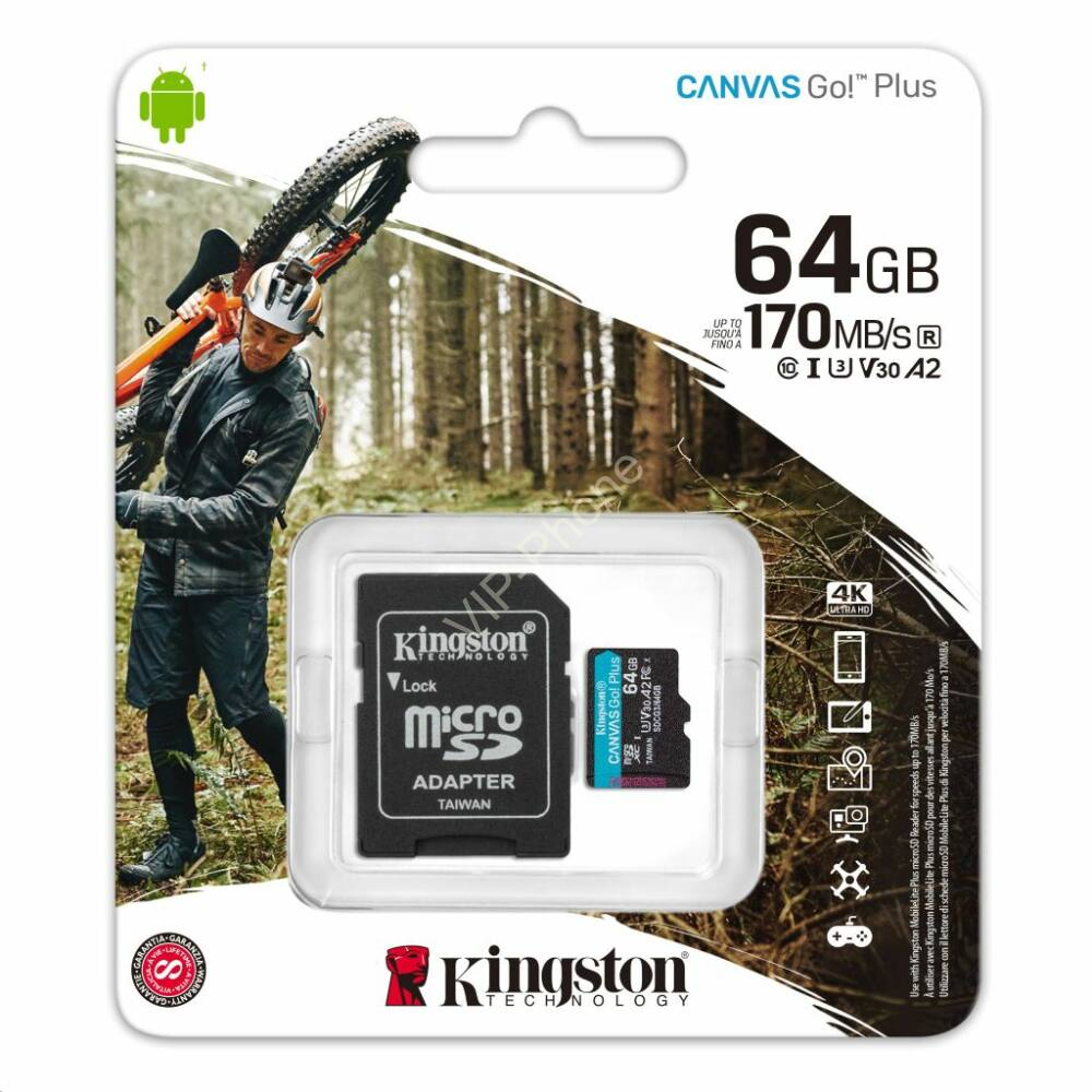 Kingston Canvas Select Plus 64 GB microSDHC™ UHS-1 170MB/s memóriakártya + adapter