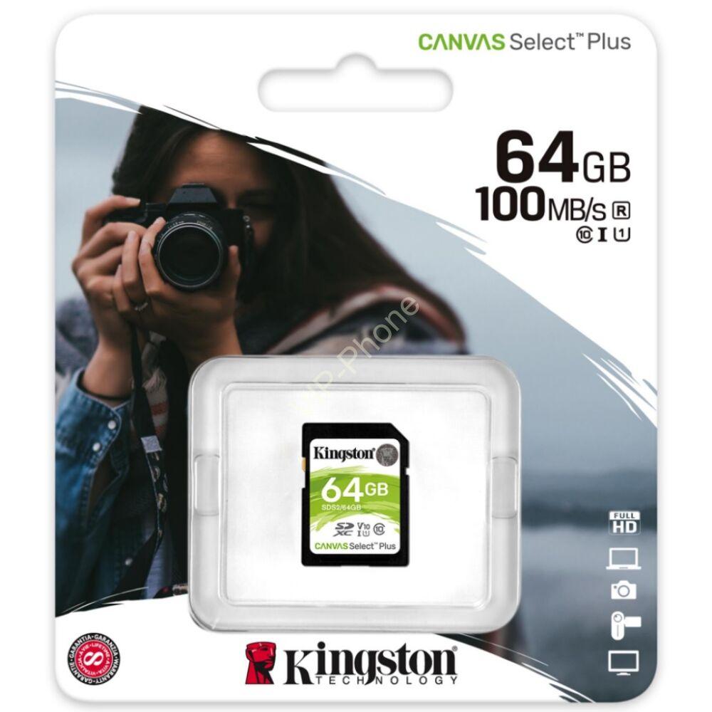 Kingston Canvas Select Plus 64GB 100MB/s SDXC CL10 memóriakártya