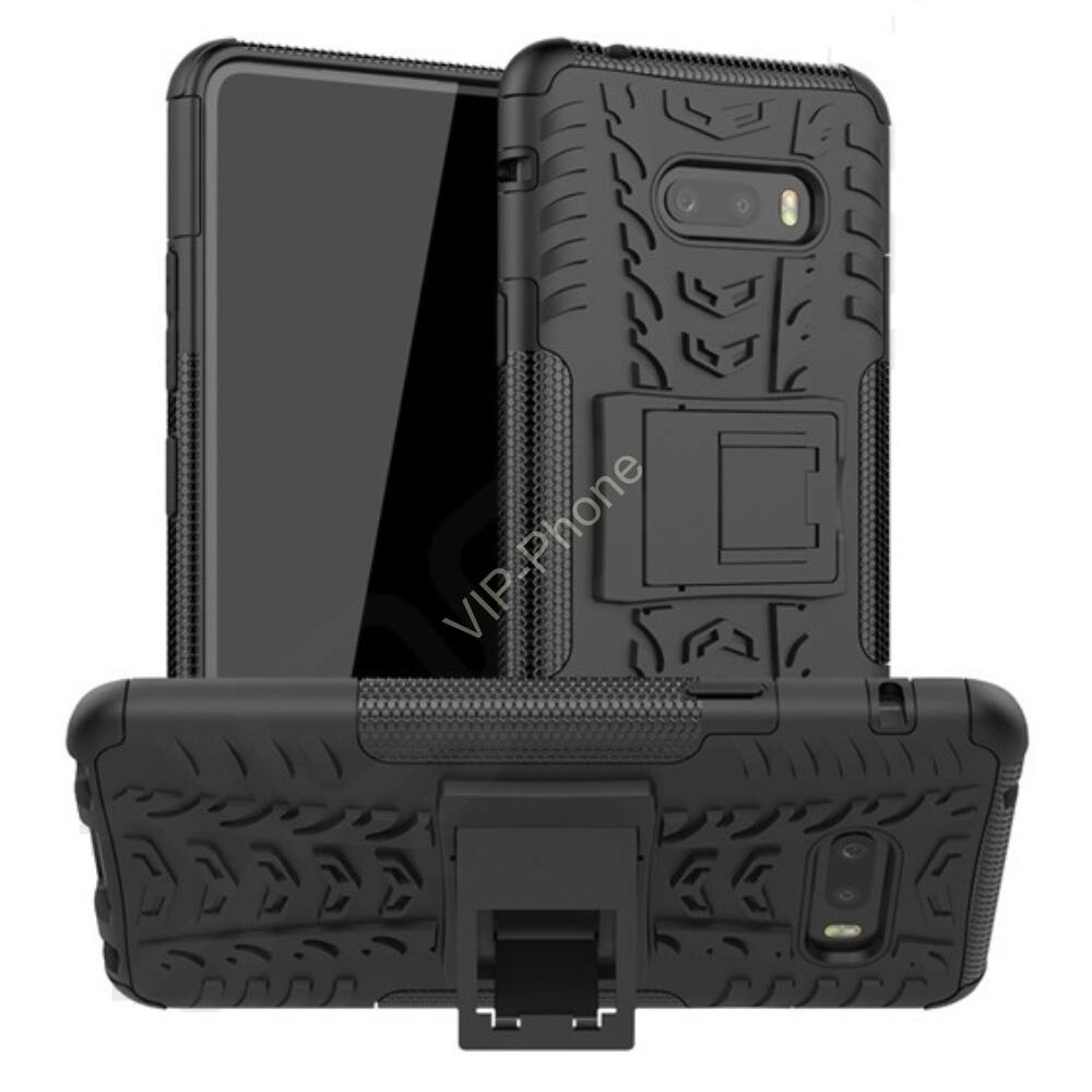 LG V50S Defender műanyag telefonvédő (közepesen ütésálló, szilikon belső, kitámasztó, autógumi minta) FEKETE
