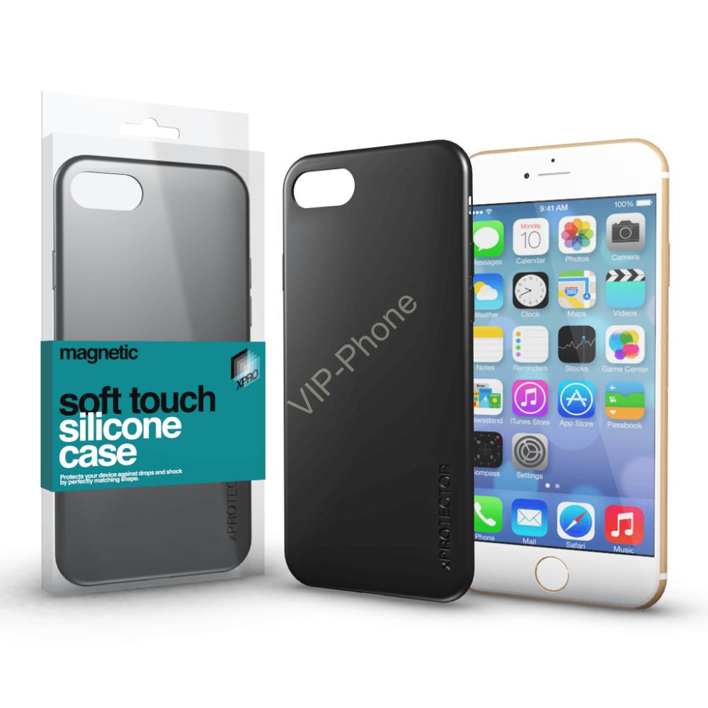 Magnetic Soft Touch Silicone Case fekete Apple iPhone X készülékhez