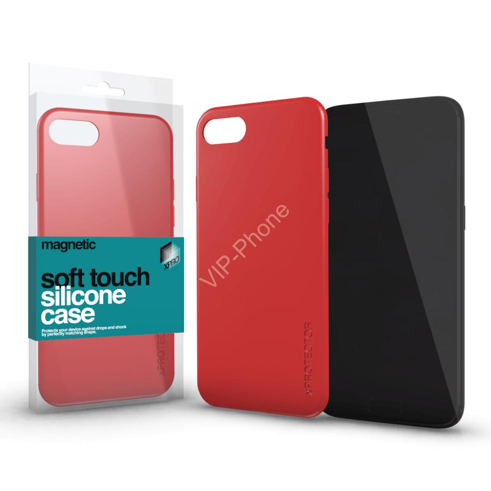 Magnetic Soft Touch Silicone Case korallpiros Apple iPhone X készülékhez