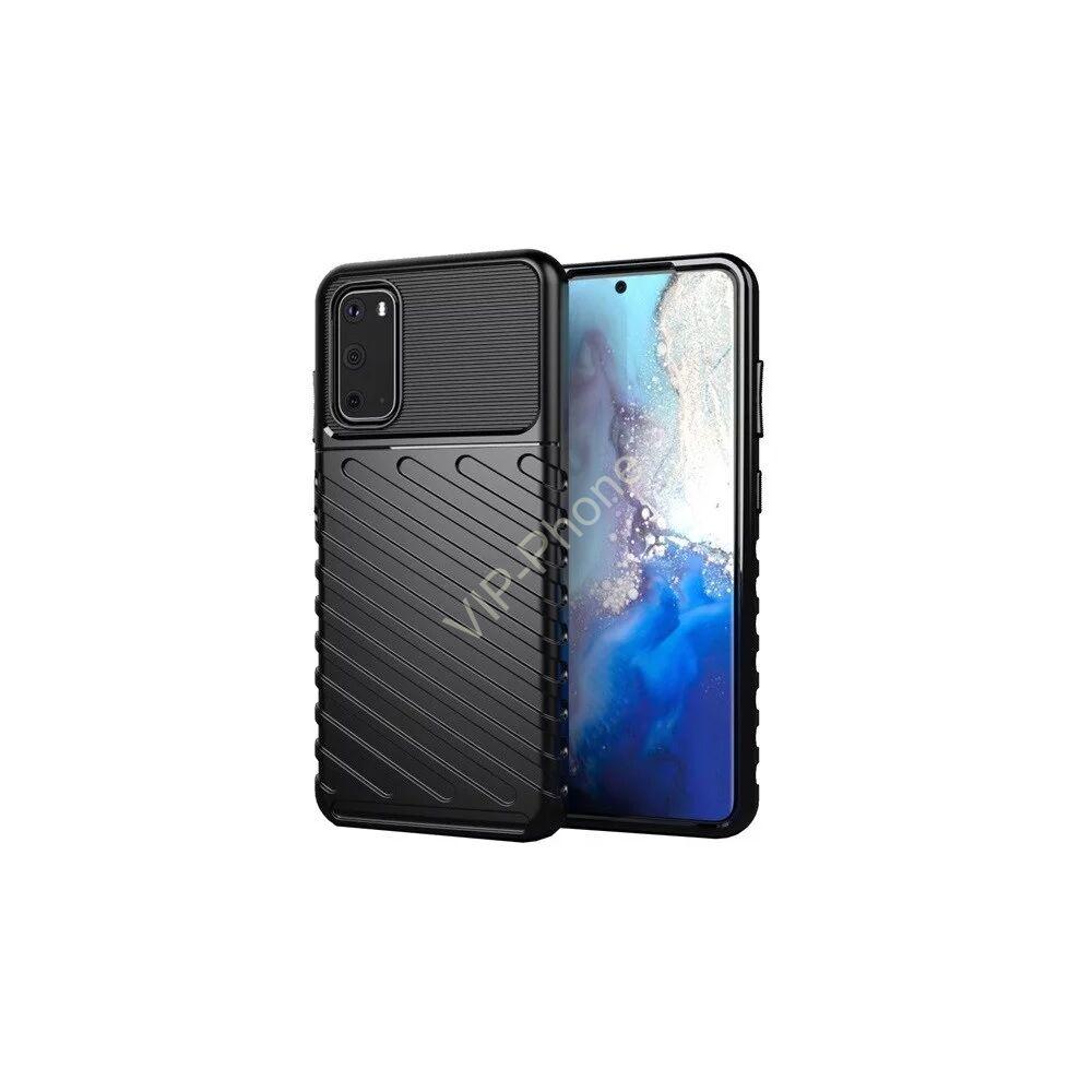 Samsung A415 Galaxy A41 Szilikon telefonvédő (közepesen ütésálló, csíkos, dombor minta) FEKETE