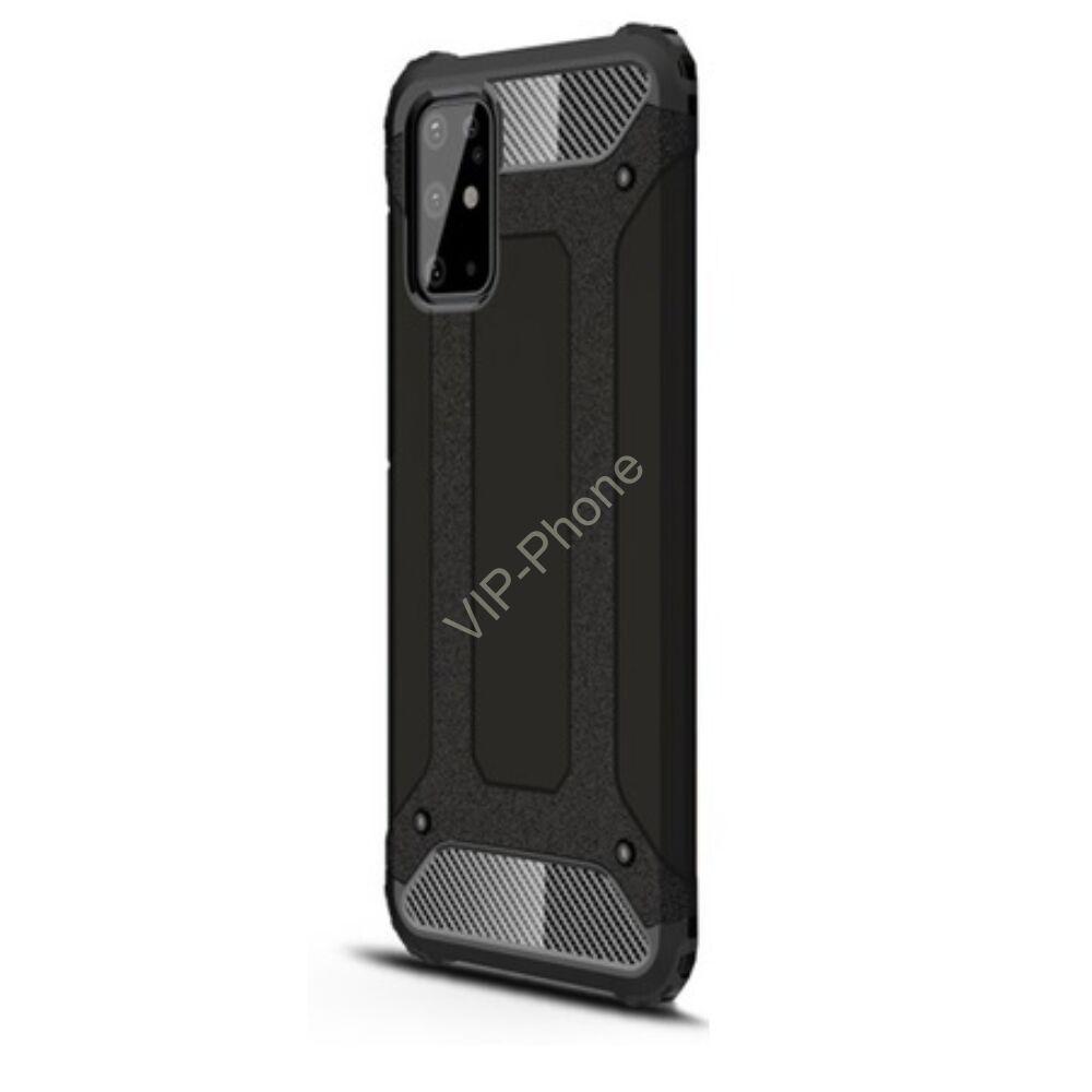 Samsung A515F Galaxy A51 Defender műanyag telefonvédő (közepesen ütésálló, légpárnás sarok, szilikon belső, fémhatás) FEKETE
