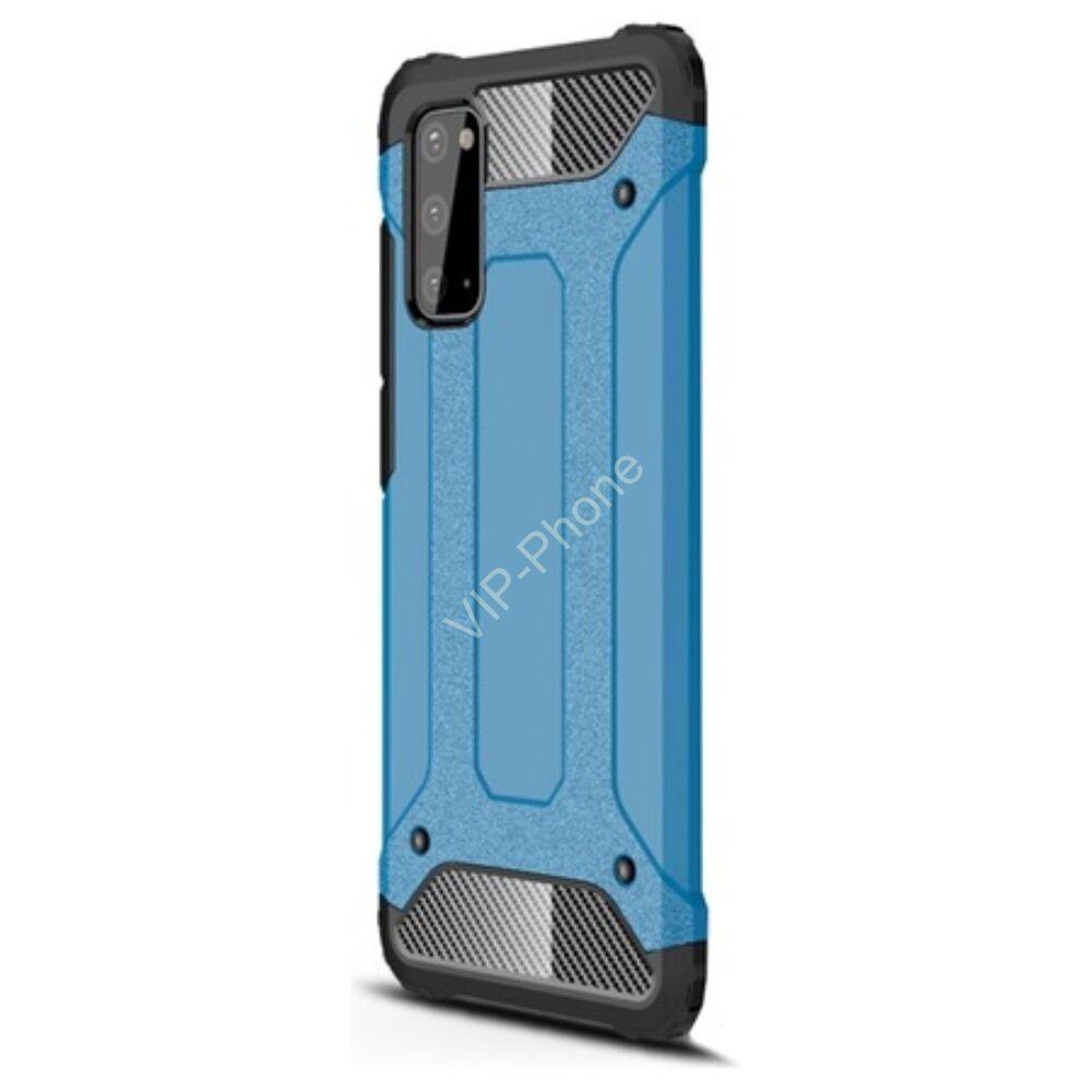 Samsung A515F Galaxy A51 Defender műanyag telefonvédő (közepesen ütésálló, légpárnás sarok, szilikon belső, fémhatás) VILÁGOSKÉK