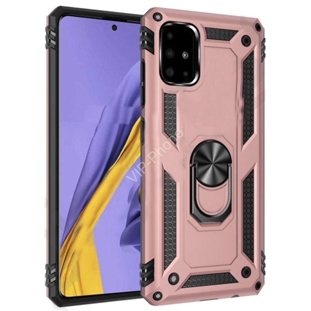 Samsung A515F Galaxy A51 Defender műanyag telefonvédő (közepesen ütésálló, szilikon belső, telefontartó gyűrű, beépített fémlemez) ROZÉARANY