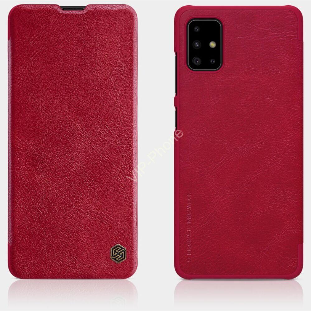 Samsung A515F Galaxy A51 NILLKIN QIN tok álló, bőr hatású (FLIP, oldalra nyíló, bankkártya tartó) PIROS