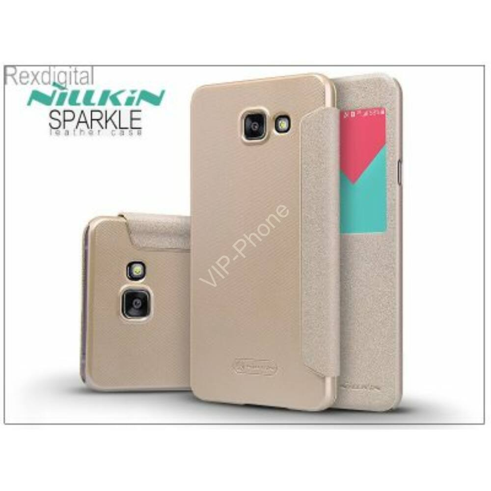 Samsung A710F Galaxy A7 (2016) oldalra nyíló flipes - Nillkin Sparkle - golden
