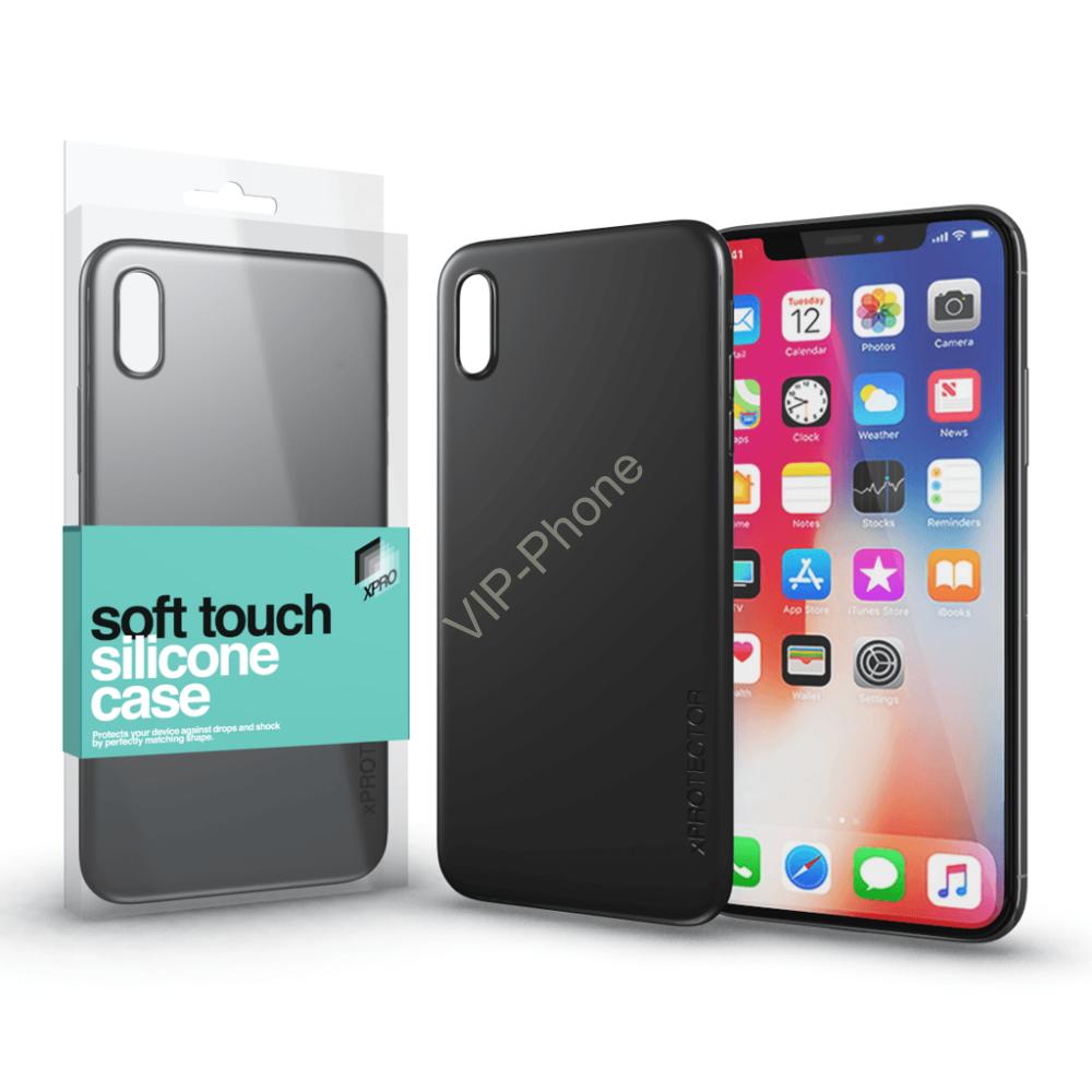 Soft Touch Silicone Case fekete Apple iPhone X készülékhez
