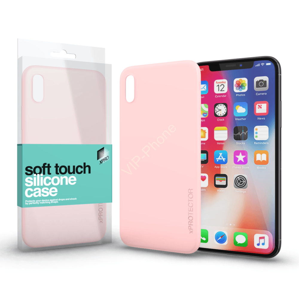 Soft Touch Silicone Case púder pink Apple iPhone X készülékhez