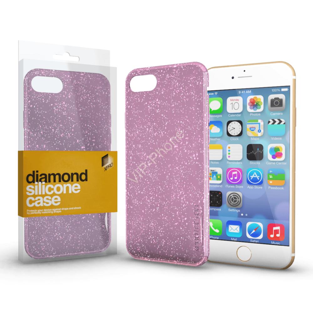 Szilikon tok (Diamond) Pink Apple iPhone X / XS készülékhez