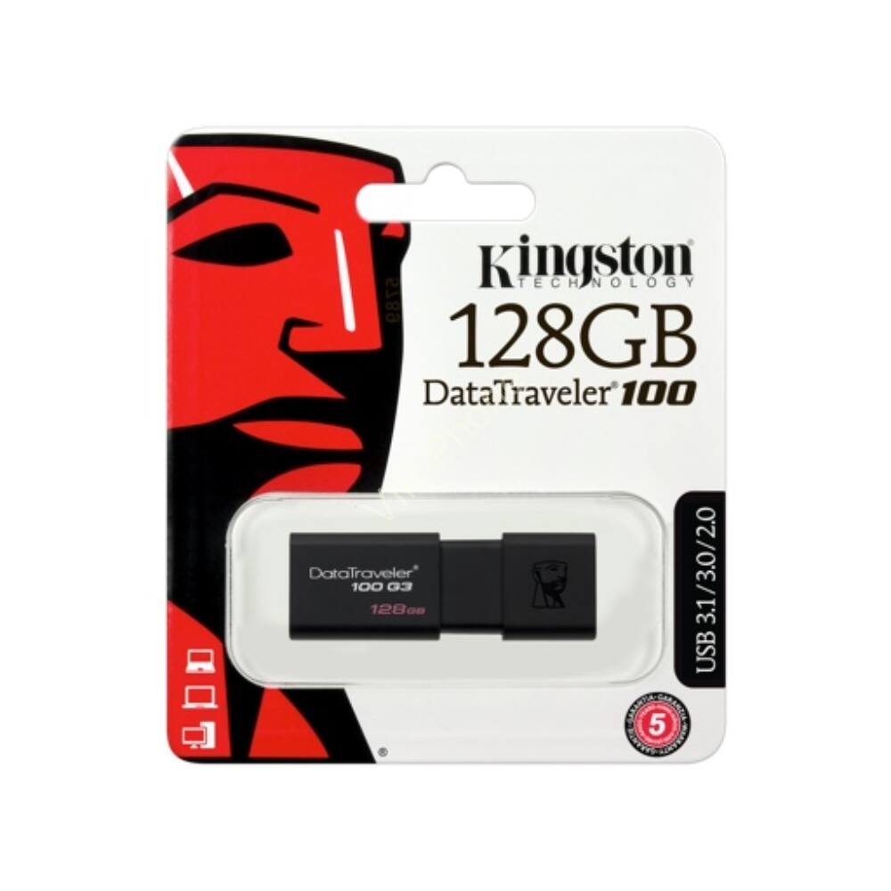 USB PENDRIVE 128GB 3.0 KINGSTON DT100G3/128GB FEKETE