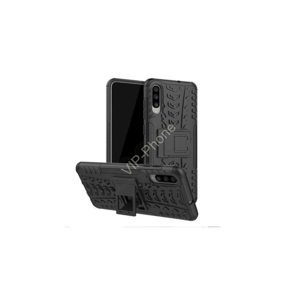 Xiaomi Redmi Note 8 Defender műanyag telefonvédő (közepesen ütésálló, szilikon belső, kitámasztó, autógumi minta) FEKETE