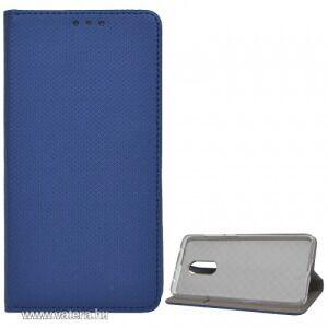 LG G8s tok álló, bőr hatású (FLIP, oldalra nyíló, asztali tartó funkció, rombusz minta) SÖTÉTKÉK