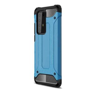Huawei P40 Pro 5G Defender műanyag telefonvédő (közepesen ütésálló, légpárnás sarok, szilikon belső, fémhatás) VILÁGOSKÉK