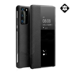 Huawei P40 Pro QIALINO tok álló, valódi bőr (aktív flip, oldalra nyíló, View Window, érdes felületű) FEKETE