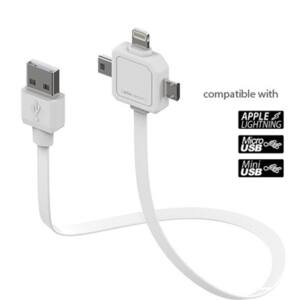 Allocacoc micro-USB / Apple Lighting / Mini-USB 80cm adatkábel, fehér