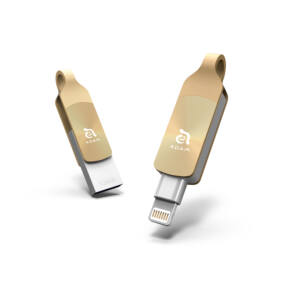 iKlips DUO+ 128GB Lightning/USB3.1 Flash Drive, arany