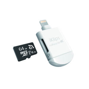 ADAM elements iKlips miREADER 4K Lightning/microUSB kártyaolvasó, fehér