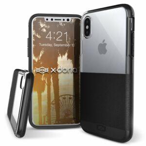 Dash védőtok iPhone X Fekete Bőr