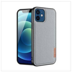 Apple Iphone 12 mini - DUX DUCIS FINO szilikon telefonvédő (műanyag belső, közepesen ütésálló, rács minta) SZÜRKE