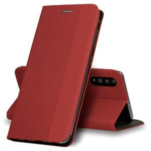 Apple Iphone 7/8/SE 2020 BookCover szövetmintás, piros
