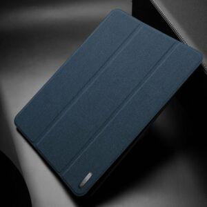 DUX DUCIS DOMO tok álló, bőr (aktív flip, oldalra nyíló, TRIFOLD asztali tartó funkció, textilminta) SÖTÉTKÉK - Samsung T510 / T515 Galaxy Tab A 10.1 2019