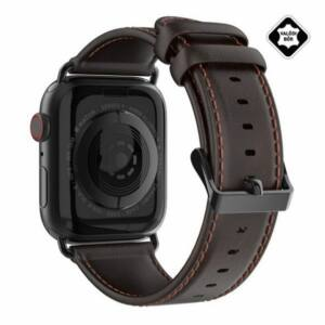 DUX DUCIS pótszíj (valódi bőr) SÖTÉTBARNA Apple Watch 1 / 2 / 3 / 4 / 5 42mm / 44mm