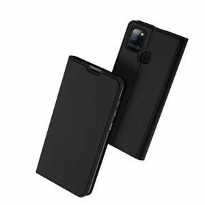 Samsung A217 Galaxy A21s - DUX DUCIS SKIN PRO tok álló, bőr hatású (FLIP, oldalra nyíló, bankkártya tartó, asztali tartó funkció) FEKETE