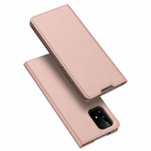 DUX DUCIS SKIN PRO tok álló, bőr hatású ROZÉARANY - Samsung Galaxy A51