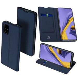 DUX DUCIS SKIN PRO tok álló, bőr hatású - Samsung Galaxy A71 - SÖTÉTKÉK