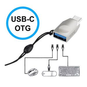 HOCO UA9 adapter (Type-C, adatátvitelhez, kulcstartóra helyezhető, OTG) EZÜST