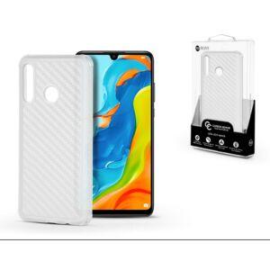 Huawei P30 Lite ROAR CARBON ARMOR szilikon telefonvédő (közepesen ütésálló, légpárnás sarok, karbon minta) ÁTLÁTSZÓ