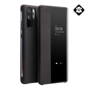 Huawei P30 Pro QIALINO tok álló, valódi bőr (aktív flip, oldalra nyíló, View Window) FEKETE
