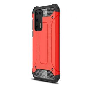 Huawei P40 Defender műanyag telefonvédő (közepesen ütésálló, légpárnás sarok, szilikon belső, fémhatás) PIROS