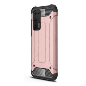 Huawei P40 Defender műanyag telefonvédő (közepesen ütésálló, légpárnás sarok, szilikon belső, fémhatás) ROZÉARANY
