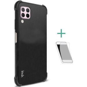 Huawei P40 Lite IMAK szilikon telefonvédő (közepesen ütésálló, légpárnás sarok, matt + képernyővédő fólia) FEKETE