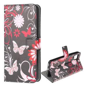 Huawei P40 Lite tok, álló bőr hatású (FLIP, oldalra nyíló, asztali tartó funkció, pillangó, virág minta) FEKETE
