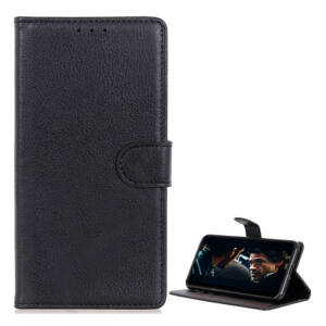 Huawei P40 Lite tok, álló bőr hatású (FLIP, oldalra nyíló, asztali tartó funkció, prémium) FEKETE